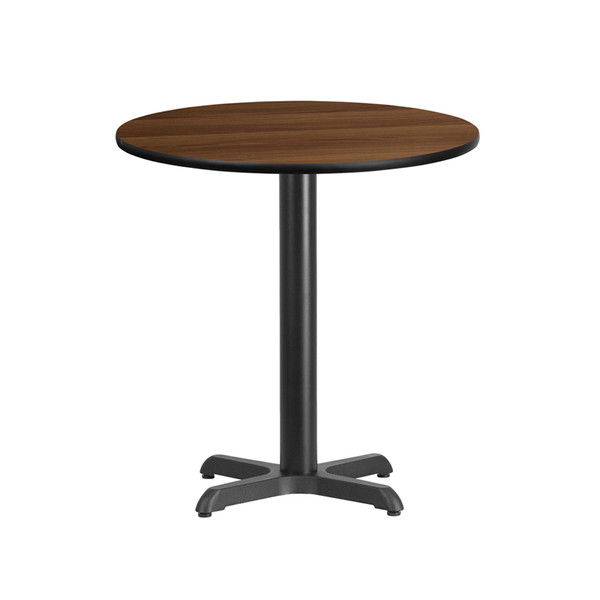 24'' Round Walnut Laminate Table Top with 22'' x 22'' Table Height Base
