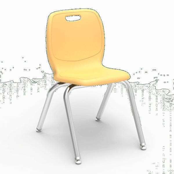 """N2 Series 16"""" Classroom Chair, Squash Bucket, Chrome Frame, 3rd - 4th Grade - Set of 4 Chairs"""