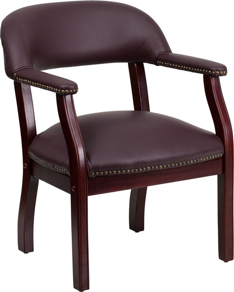 Burgundy Leather Conference Chair with Accent Nail Trim