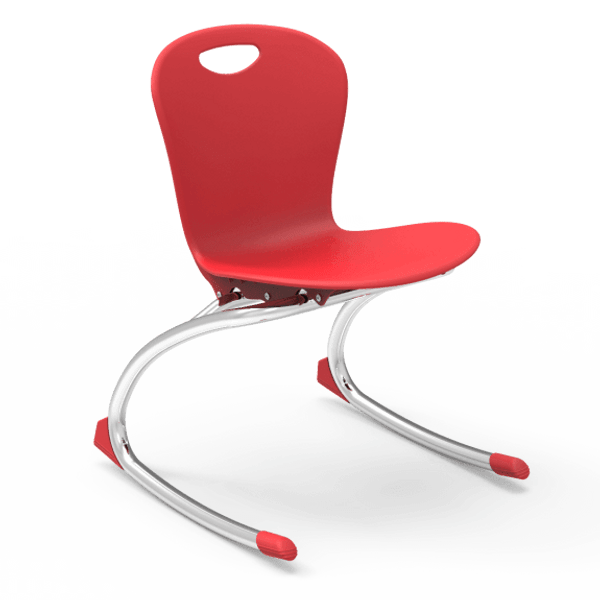 """ZUMA Series 15"""" Classroom Rocking Chair, Red Bucket, Chrome Frame, 1st - 4th Grade - Set of 2 Chairs"""