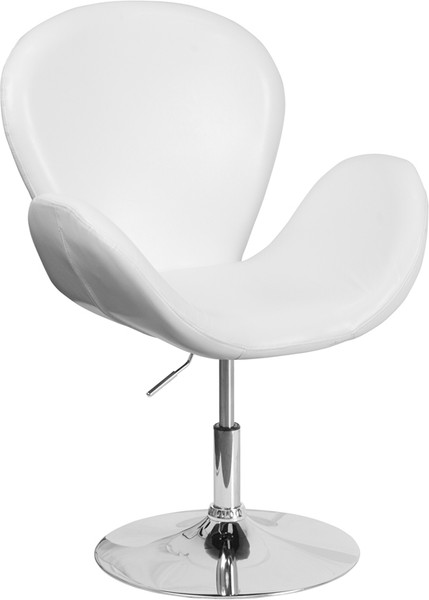 TYCOON Trestron Series White Leather Side Reception Chair with Adjustable Height Seat