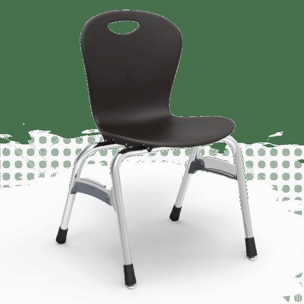 "ZUMA Series 18"" Classroom Chair, Black Bucket, Chrome Frame, 5th Grade - Adult - Set of 4 Chairs"