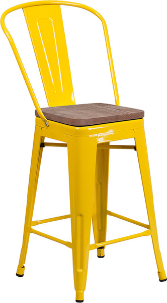 """24"""" High Yellow Metal Counter Height Stool with Back and Wood Seat"""