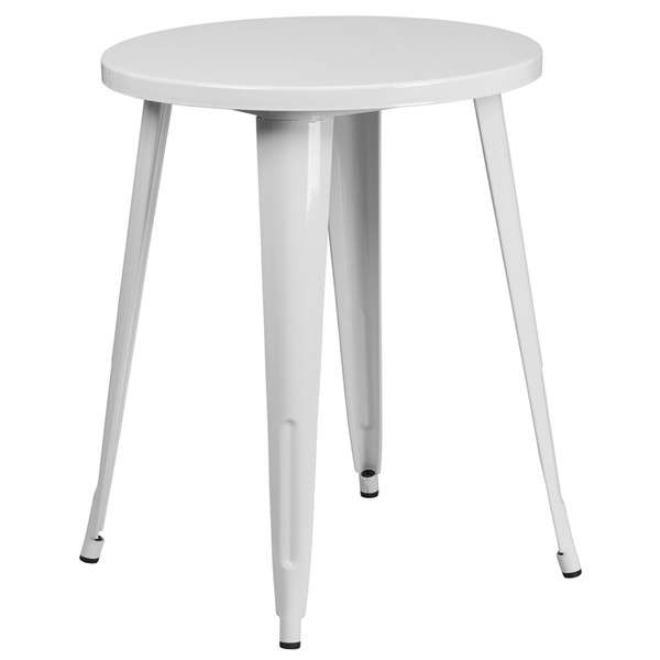 24'' Round White Metal Indoor-Outdoor Table