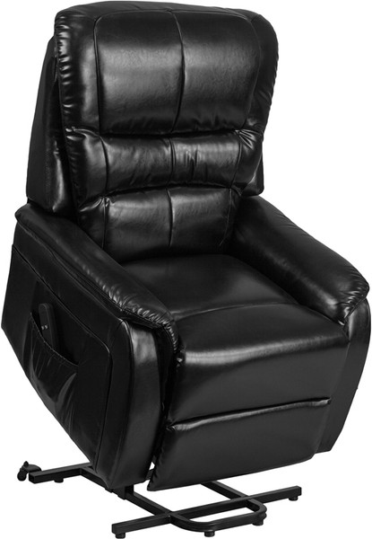 TYCOON Series Black Leather Remote Powered Lift Recliner