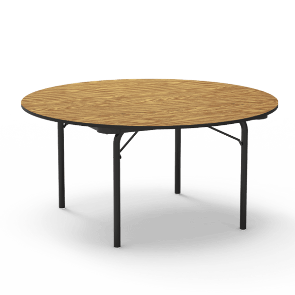"6000 Series 60"" Round Folding Table, Medium Oak Top, Char Black Edge, Char Black Frame"