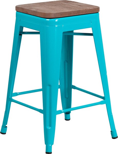 """24"""" High Backless Crystal Teal-Blue Counter Height Stool with Square Wood Seat"""
