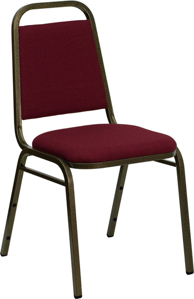 TYCOON Series Trapezoidal Back Stacking Banquet Chair in Burgundy Fabric - Gold Vein Frame