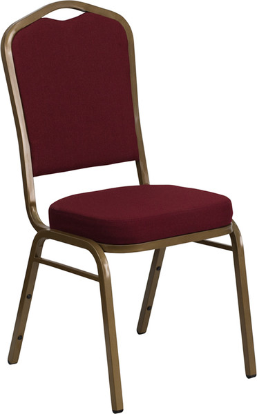 TYCOON Series Crown Back Stacking Banquet Chair in Burgundy Fabric - Gold Frame