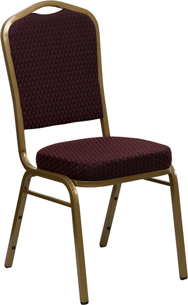 TYCOON Series Crown Back Stacking Banquet Chair in Burgundy Patterned Fabric - Gold Frame
