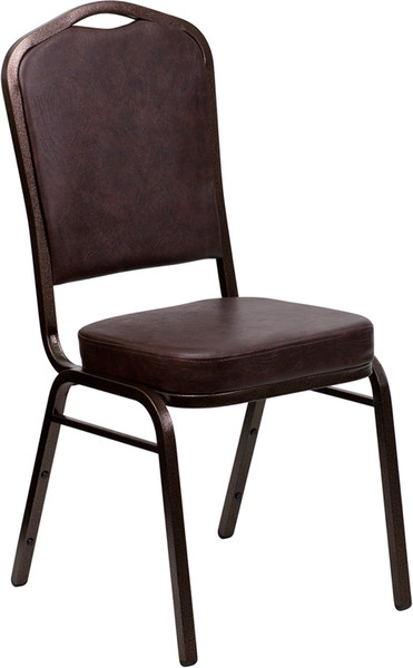 TYCOON Series Crown Back Stacking Banquet Chair in Brown Vinyl - Copper Vein Frame