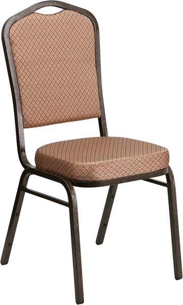 TYCOON Series Crown Back Stacking Banquet Chair in Gold Diamond Patterned Fabric - Gold Vein Frame