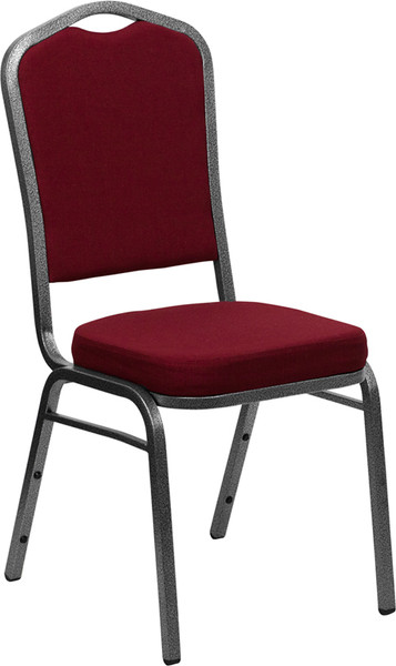TYCOON Series Crown Back Stacking Banquet Chair in Burgundy Fabric - Silver Vein Frame