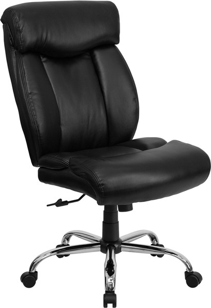 TYCOON Series Big & Tall 400 lb. Rated Black Leather Executive Ergonomic Office Chair with Full Headrest