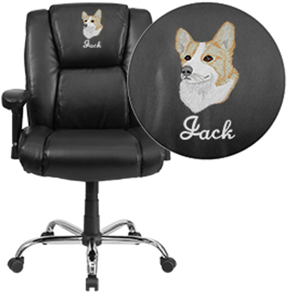 Pleasant Embroidered Tycoon Series Big Tall 400 Lb Rated Black Leather Ergonomic Task Office Chair Chrome Base Arms Theyellowbook Wood Chair Design Ideas Theyellowbookinfo
