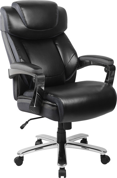 TYCOON Series Big & Tall 500 lb. Rated Black Leather Executive Swivel Ergonomic Office Chair with Adjustable Headrest