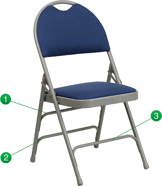 TYCOON Series Ultra-Premium Triple Braced Navy Fabric Metal Folding Chair with Easy-Carry Handle