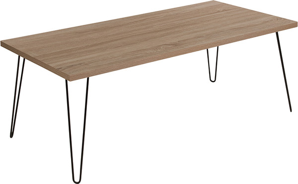 Union Square Collection Sonoma Oak Wood Grain Finish Coffee Table with Black Metal Legs
