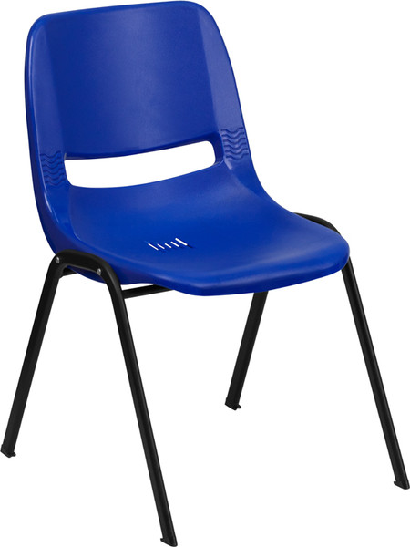 TYCOON Series 661 lb. Capacity Navy Ergonomic Shell Stack Chair with Black Frame and 16'' Seat Height