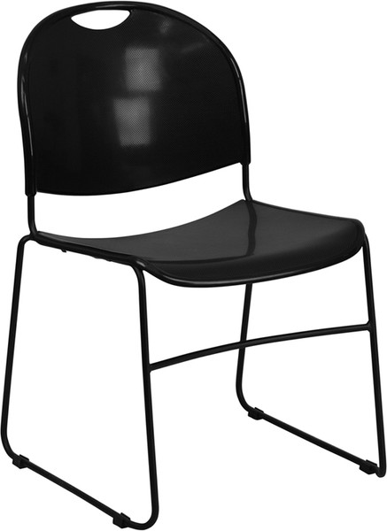 TYCOON Series 880 lb. Capacity Black Ultra-Compact Stack Chair with Black Frame