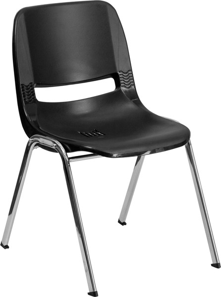 TYCOON Series 880 lb. Capacity Black Ergonomic Shell Stack Chair with Chrome Frame and 18'' Seat Height