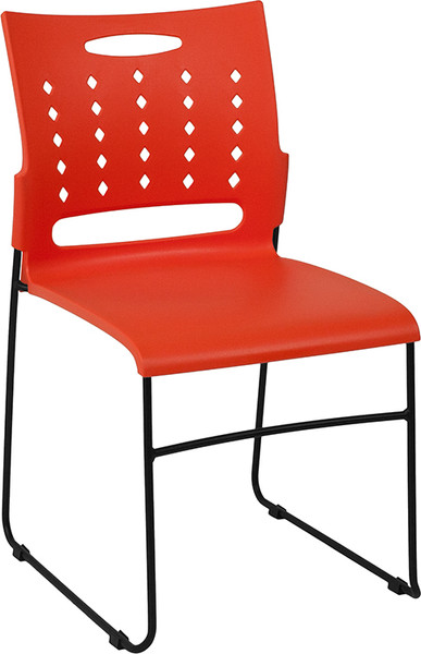 TYCOON Series 881 lb. Capacity Orange Sled Base Stack Chair with Air-Vent Back