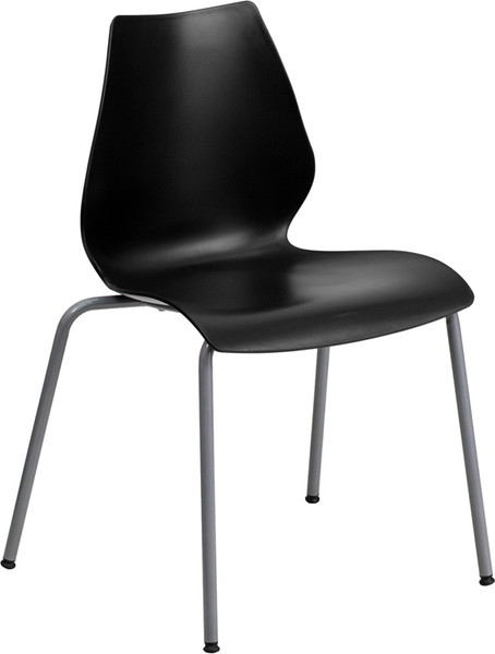TYCOON Series 770 lb. Capacity Black Stack Chair with Lumbar Support and Silver Frame