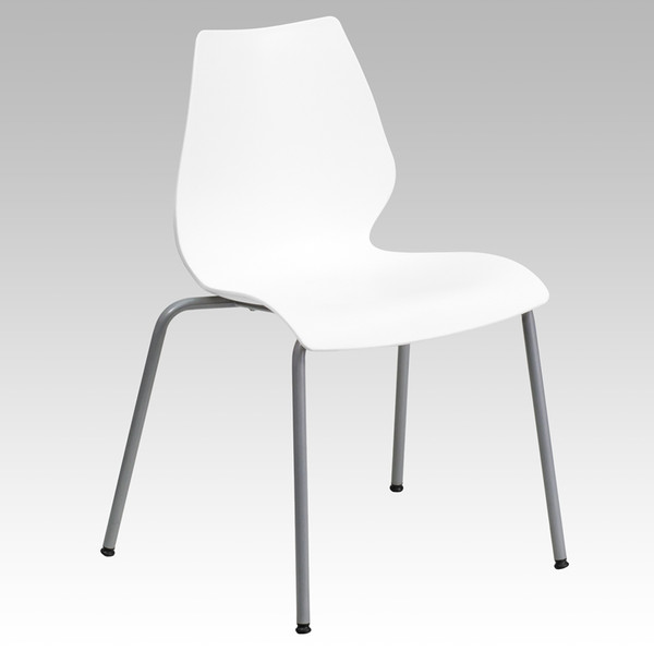 TYCOON Series 770 lb. Capacity White Stack Chair with Lumbar Support and Silver Frame