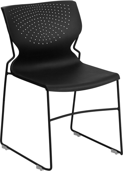 TYCOON Series 661 lb. Capacity Black Full Back Stack Chair with Black Frame