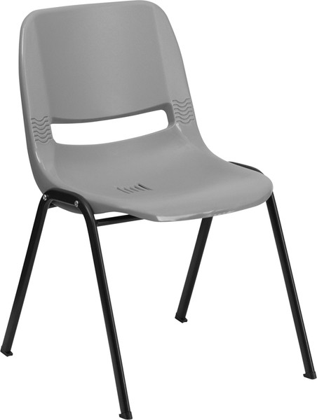 TYCOON Series 880 lb. Capacity Gray Ergonomic Shell Stack Chair