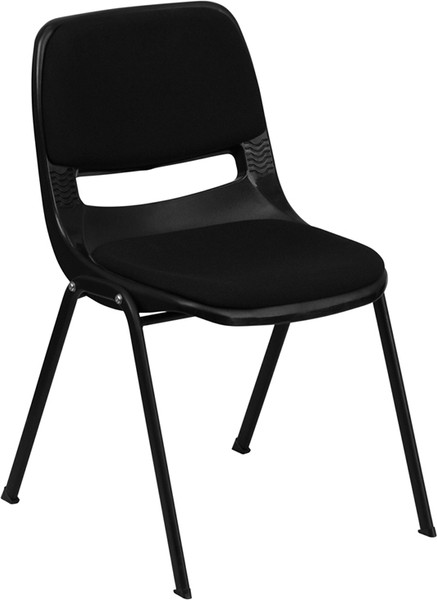 TYCOON Series 880 lb. Capacity Black Ergonomic Shell Stack Chair with Padded Seat and Back