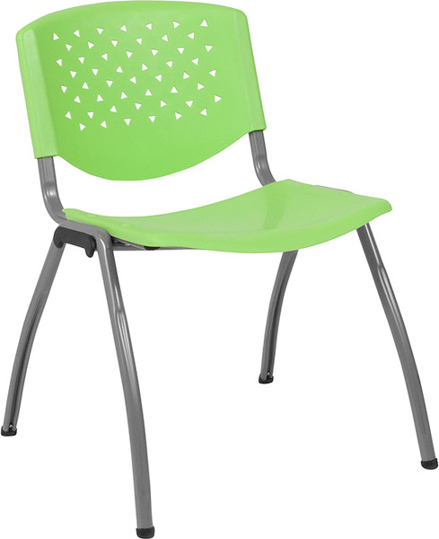TYCOON Series 880 lb. Capacity Green Plastic Stack Chair with Titanium Frame