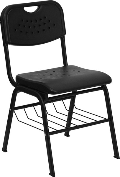 TYCOON Series 880 lb. Capacity Black Plastic Chair with Black Frame and Book Basket