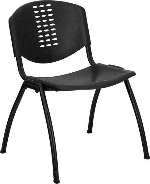 TYCOON Series 880 lb. Capacity Black Plastic Stack Chair with Oval Cutout Back and Black Frame
