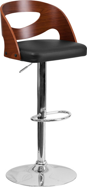 Superb Walnut Bentwood Adjustable Height Barstool With Side Panel Cutout Back And Black Vinyl Seat Dailytribune Chair Design For Home Dailytribuneorg