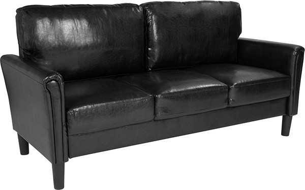 Bari Upholstered Sofa in Black Leather