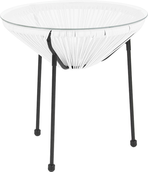 Valencia Oval Comfort Series Take Ten White Rattan Table with Glass Top