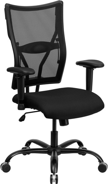 TYCOON Series Big & Tall 400 lb. Rated Black Mesh Executive Swivel Ergonomic Office Chair with Adjustable Arms