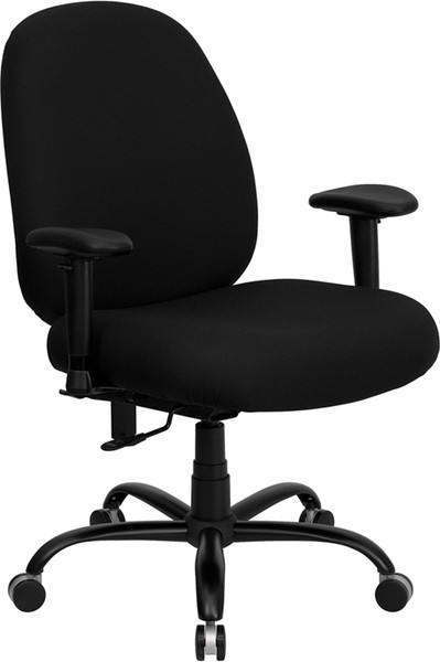 TYCOON Series Big & Tall 400 lb. Rated Black Fabric Executive Ergonomic Office Chair with Adjustable Back and Arms