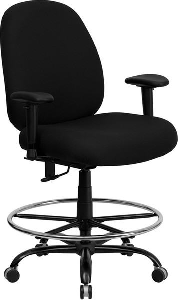 TYCOON Series Big & Tall 400 lb. Rated Black Fabric Ergonomic Drafting Chair with Adjustable Back Height and Arms