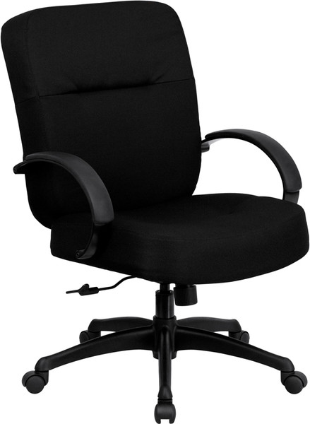 TYCOON Series Big & Tall 400 lb. Rated Black Fabric Executive Swivel Ergonomic Office Chair with Arms
