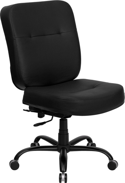 TYCOON Series Big & Tall 400 lb. Rated Black Leather Executive Swivel Ergonomic Office Chair with Rectangle Back