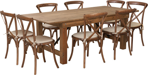 TYCOON Series 7' x 40'' Antique Rustic Folding Farm Table Set with 8 Cross Back Chairs and Cushions