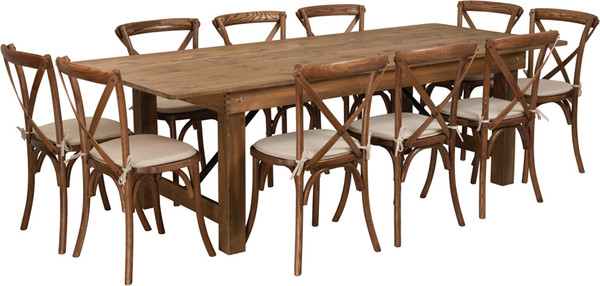 TYCOON Series 8' x 40'' Antique Rustic Folding Farm Table Set with 10 Cross Back Chairs and Cushions