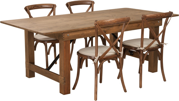 TYCOON Series 7' x 40'' Antique Rustic Folding Farm Table Set with 4 Cross Back Chairs and Cushions