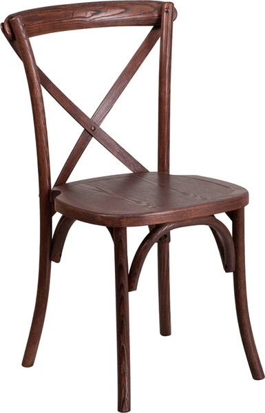 TYCOON Series Stackable Mahogany Wood Cross Back Chair