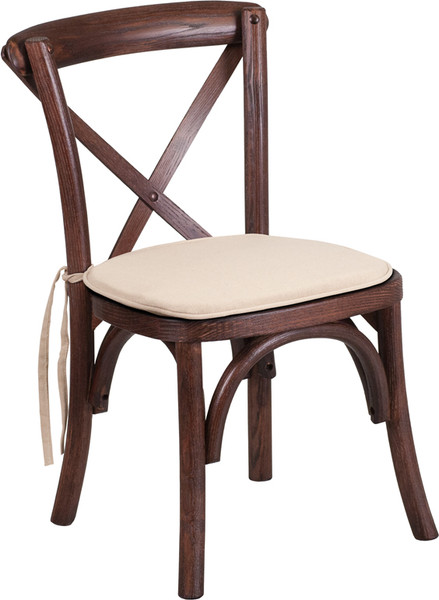 TYCOON Series Stackable Kids Mahogany Wood Cross Back Chair with Cushion