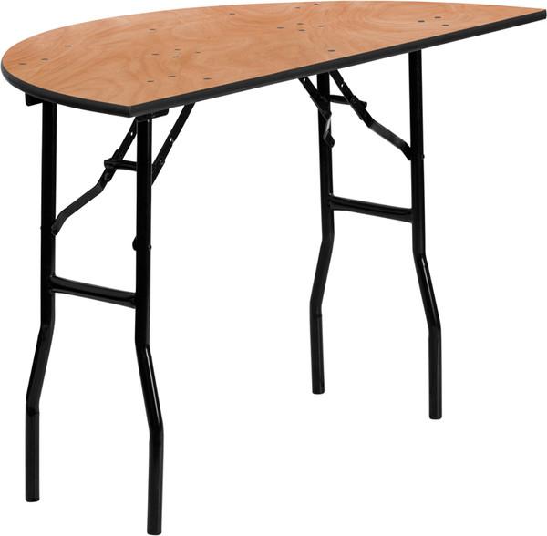 48'' Half-Round Wood Folding Banquet Table