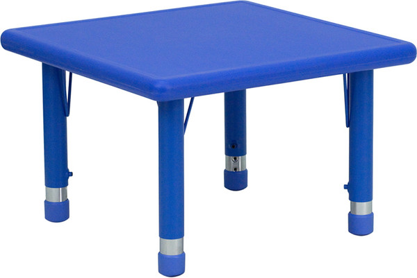 24'' Square Blue Plastic Height Adjustable Activity Table
