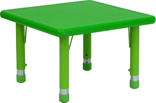 24'' Square Green Plastic Height Adjustable Activity Table